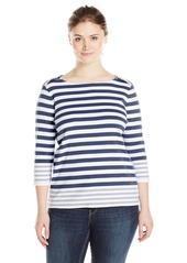 Pendleton Women's Plus Size Corina Stripe Rib Tee