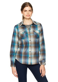 Pendleton Women's Ranch Hand Wool Plaid Shirt Blue/tan Ombre XS