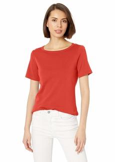 Pendleton Women's Short Sleeve Cotton Rib Crew Tee Aurora red MD