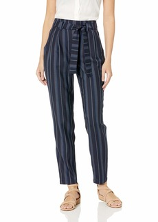Pendleton Women's Stripe Belted High Waist Pant Navy Linen Weave