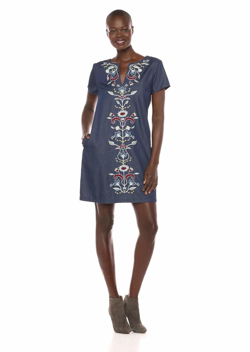 Pendleton Women's Tala Embroidered Cotton Shift Dress Dark wash Multi LG
