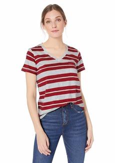 Pendleton Women's V-Neck Pocket Tee red Rock/Light Grey Heather Stripe XL