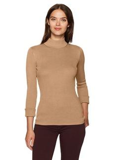 Pendleton Women's Washable Silk/Cotton Rib Mockneck Pullover Sweater  L