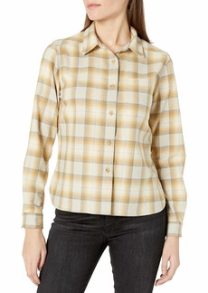 Pendleton Women's Long Sleeve Lodge Wool Shirt Gold/tan Ombre