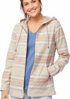 Pendleton Women's Wool Zip Hoodie tan Mix/Pink Serape Stripe