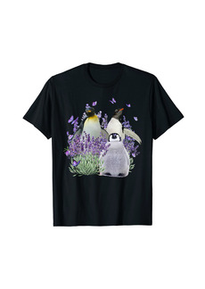 Beautiful Scene About Lovely Penguin Love Lavender T-Shirt
