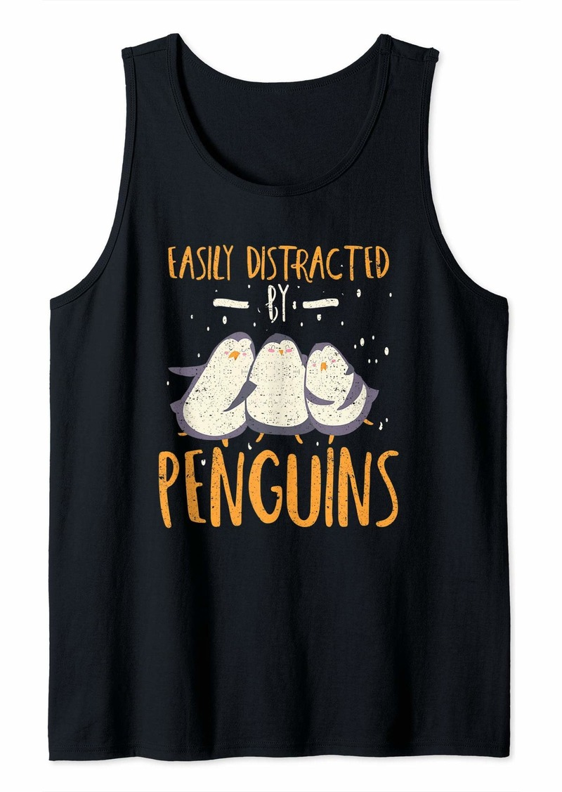 Easily Distracted By Penguins Penguin Lover Gift Tank Top