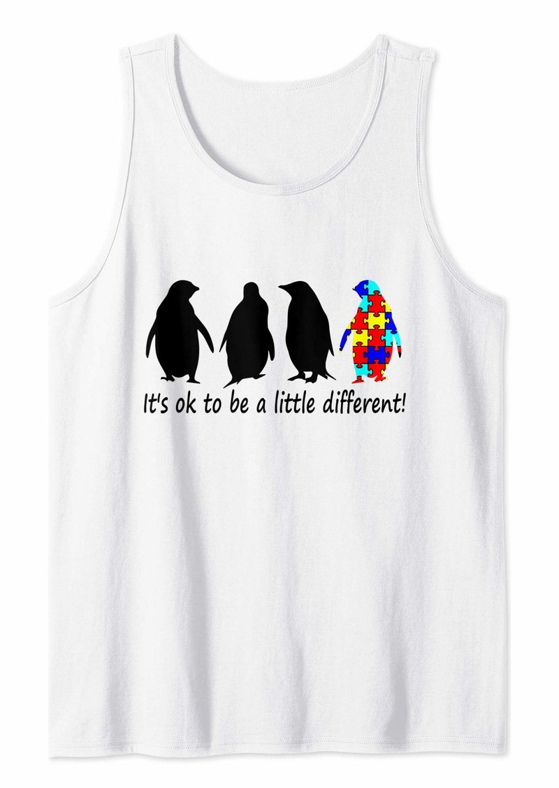 Penguin It's Ok To Be A Little Different Shirt Autism Awareness Tee Tank Top