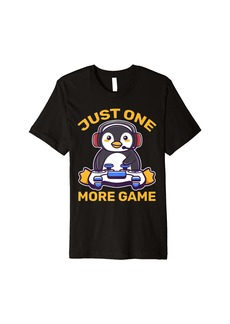 Just One More Game Penguin Gaming Kawaii Gamer Game Anime Premium T-Shirt