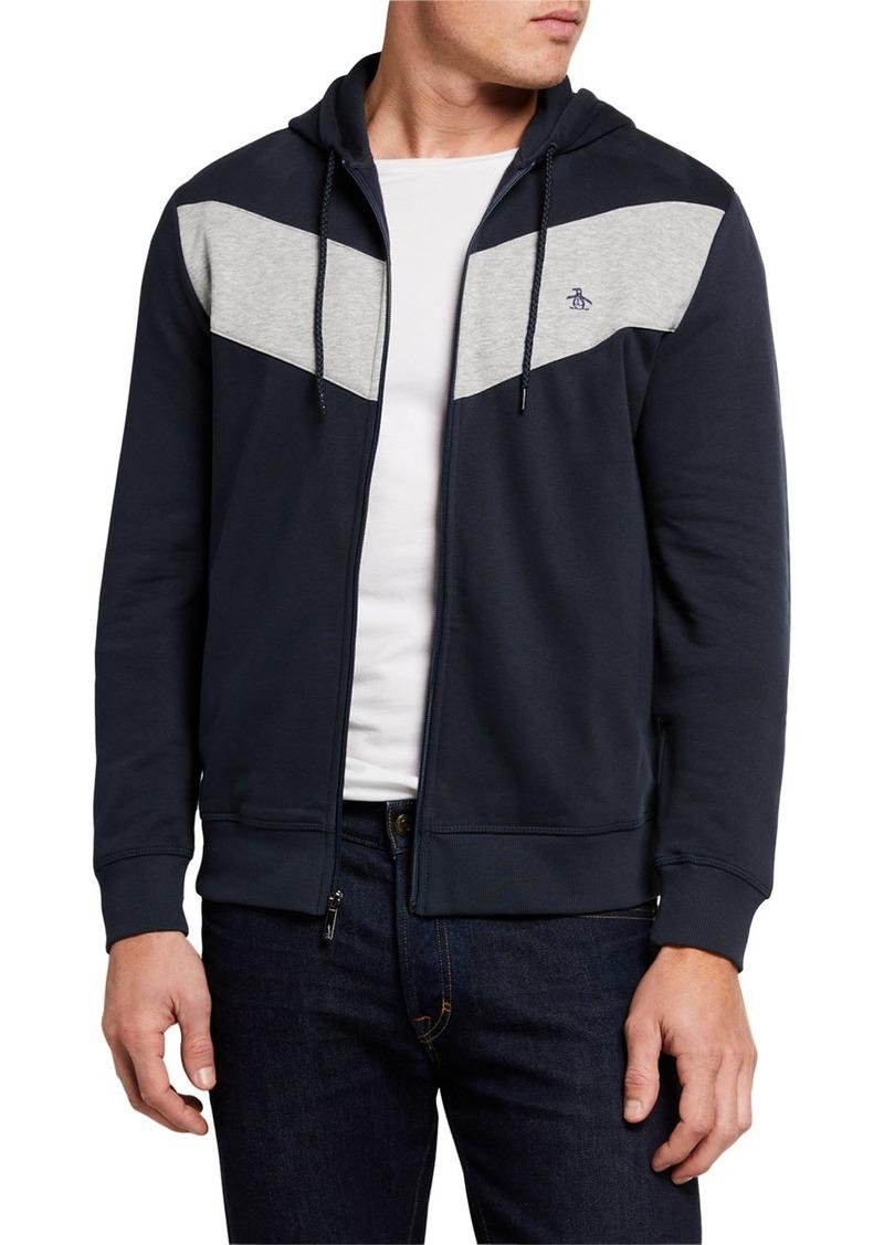 Original Penguin Men's Colorblock Knit Hooded Jacket