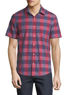 Original Penguin Men's End-On-End Plaid Short-Sleeve Shirt