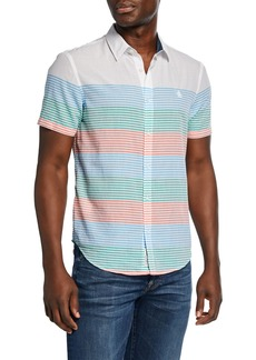 Original Penguin Men's Engineer-Striped Sport Shirt