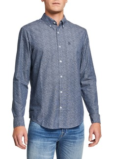 Original Penguin Men's Floral Print Chambray Long-Sleeve Sport Shirt