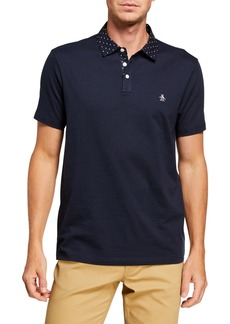 Original Penguin Men's Geo-Print Collar Polo Shirt
