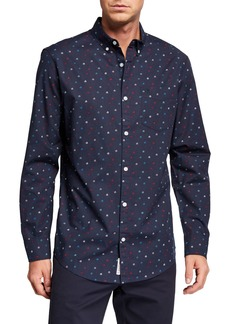 Original Penguin Men's Long-Sleeve Ditsy House Print Shirt
