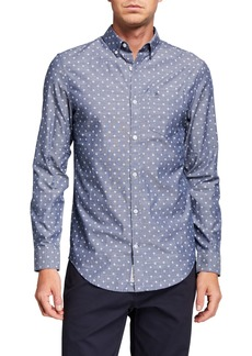 Original Penguin Men's Long-Sleeve Geo Printed Oxford Shirt