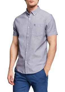 Original Penguin Men's Short-Sleeve Dobby Oxford Button-Down Shirt