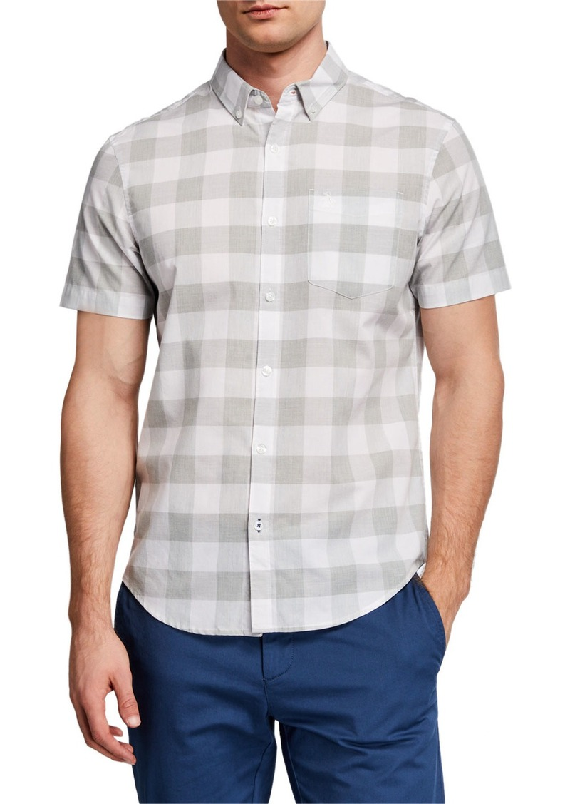 Original Penguin Men's Short-Sleeve Jaspe Buffalo Check Button-Down Shirt