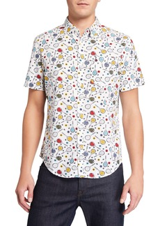 Original Penguin Men's Short-Sleeve Tennis Racket Printed Shirt