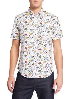 Original Penguin Men's Short-Sleeve Tennis Racket Printed Shirt