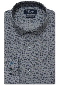 Original Penguin Men's Heritage Slim-Fit Comfort Stretch Printed Denim Dress Shirt