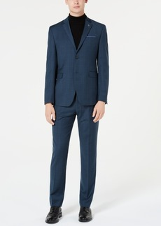 Original Penguin Men's Slim-Fit Stretch Blue Dobby Check Suit