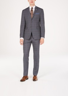 Original Penguin Men's Slim-Fit Stretch Gray/Brown Windowpane Suit