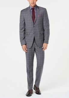 Original Penguin Men's Slim-Fit Stretch Gray/Maroon Windowpane Suit