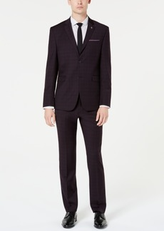 Original Penguin Men's Slim-Fit Stretch Maroon/Navy Plaid Suit