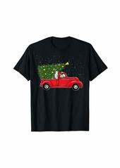 Penguin Christmas On Red Car Truck with Xmas Tree Penguin T-Shirt