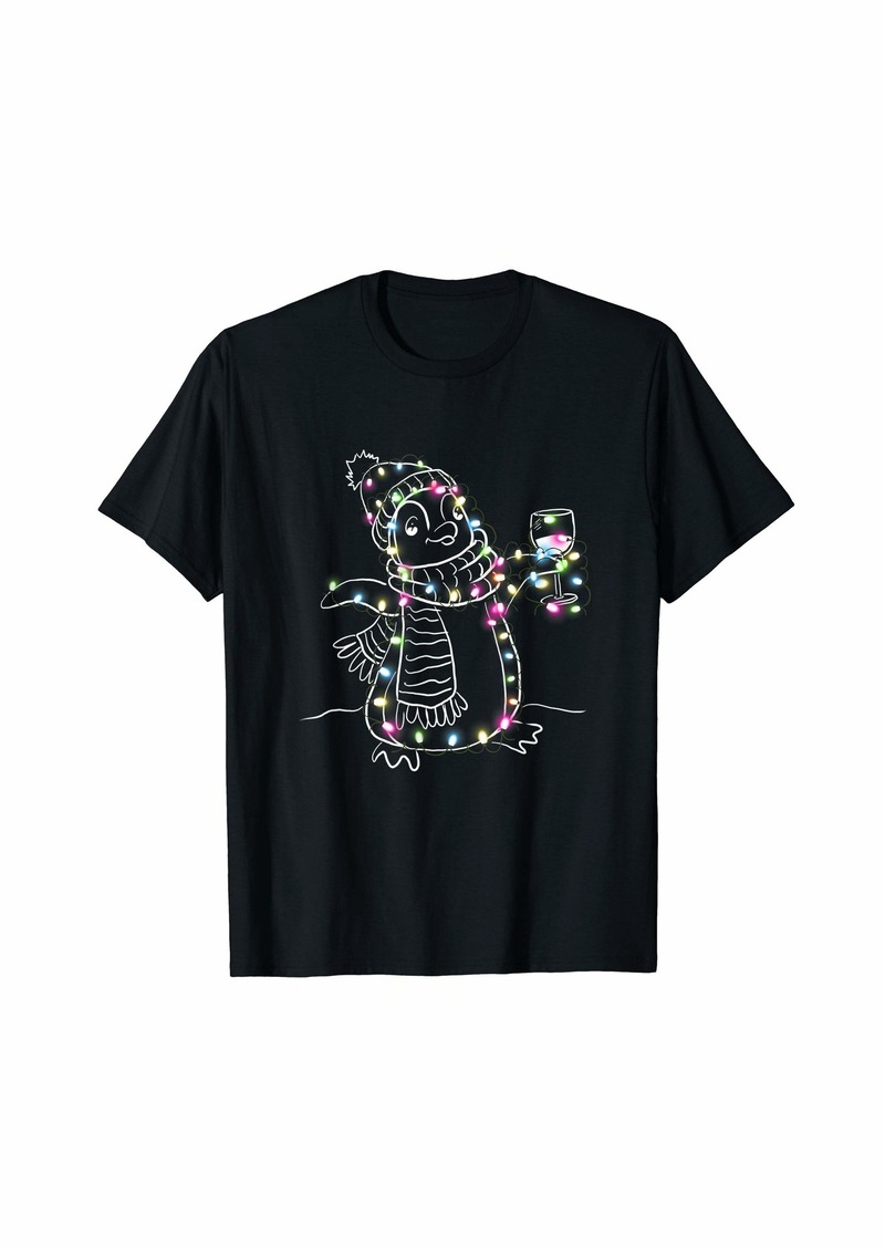 Penguin color led light Christmas tree lover  T-Shirt
