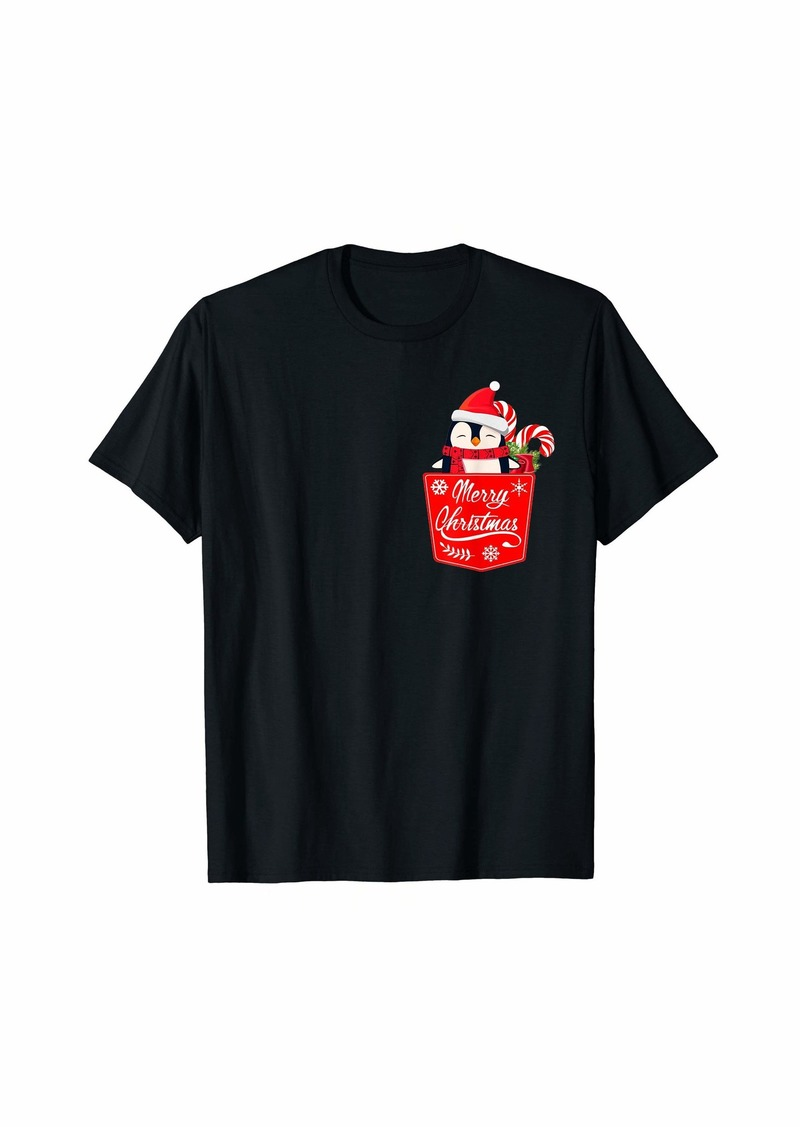 Penguin merry christmas pocket Santa hat flamingo pocket T-Shirt
