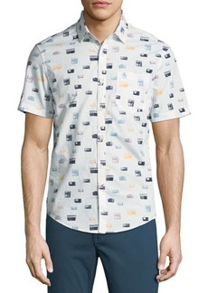Penguin Radio Print Short-Sleeve Sport Shirt