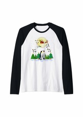 Penguin Reindeer Santa Under Moonlight Christmas Raglan Baseball Tee