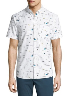 Penguin Short-Sleeve Paint Brush Printed Shirt