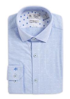 Penguin Slim-Fit Dot Dobby Spread-Collar Dress Shirt
