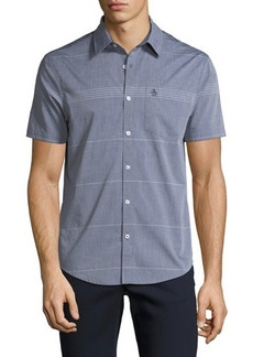 Penguin Slim-Fit Engineer-Striped Short-Sleeve Sport Shirt
