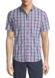 Penguin Slim-Fit Gradated-Check Short-Sleeve Sport Shirt