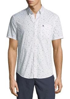 Penguin Slim-Fit Seagull-Print Short-Sleeve Sport Shirt