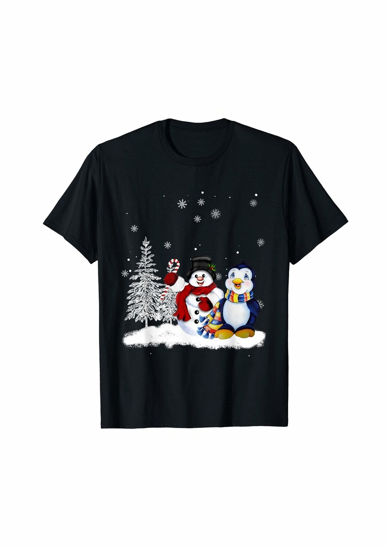 Penguin Snowman White Christmas  T-Shirt