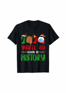 Penguin Wearing Mask Christmas Quarantine 2020 History T-Shirt