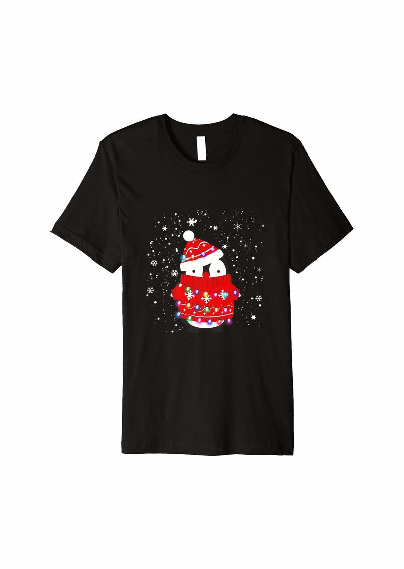 Santa Penguin Christmas Lights Penguin Lover Christmas Gift Premium T-Shirt