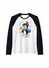 Santa Penguin Christmas Lights Penguin Lover Christmas Gift Raglan Baseball Tee