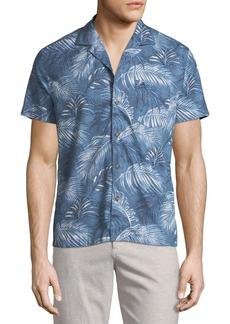 Penguin Slim-Fit Palm-Leaf Short-Sleeve Sport Shirt