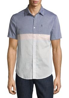Penguin Slim-Fit Short-Sleeve Colorblock Sport Shirt