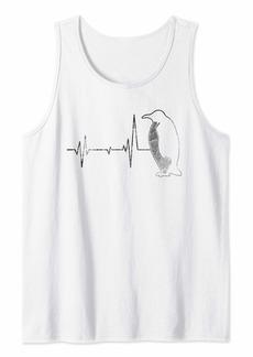Vintage Retro Distressed Heartbeat Penguin Animal Gift Shirt Tank Top
