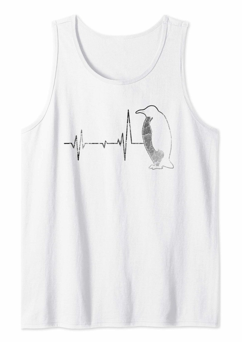 Vintage Retro Distressed Heartbeat Penguin Animal Gift Shirt Tank Top