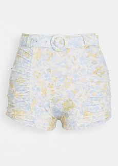 Peony Swimwear Forget Me Not Ruched Belted Swim Shorts