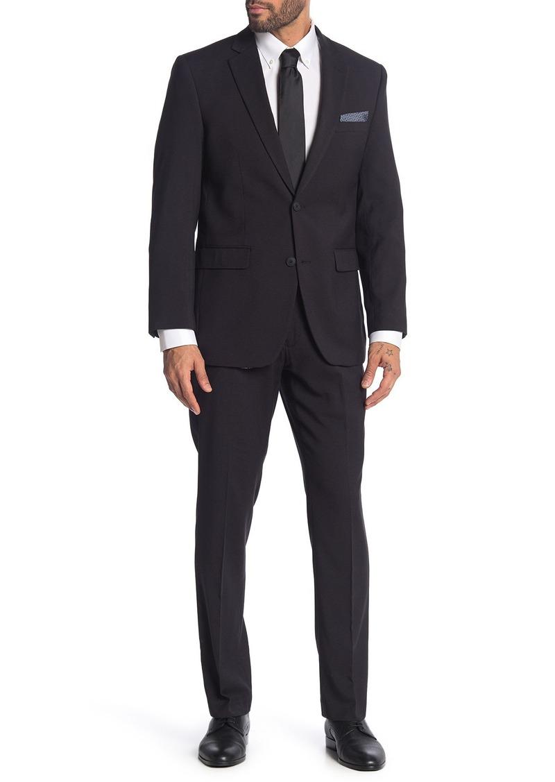 Perry Ellis Black Dobby Two Button Notch Lapel Slim Fit Suit