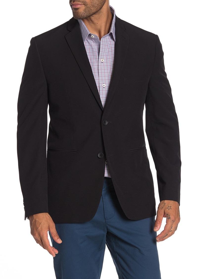 Perry Ellis Black Solid Two Button Notch Lapel Performance Tech Very Slim Fit Suit Separates Jacket